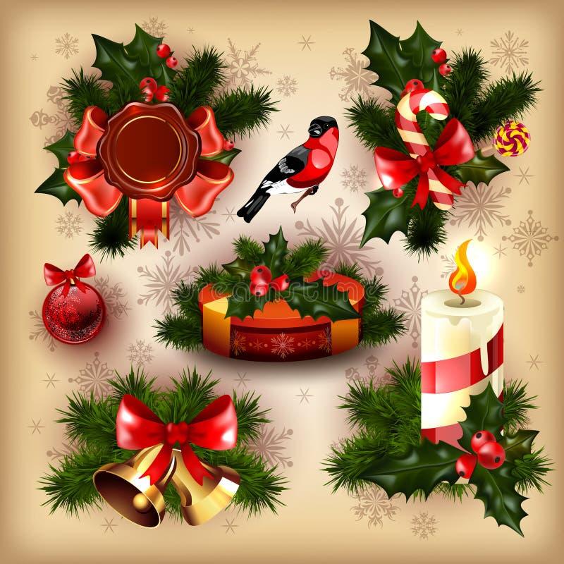 Inzameling van ontwerpen op Kerstmisthema royalty-vrije illustratie