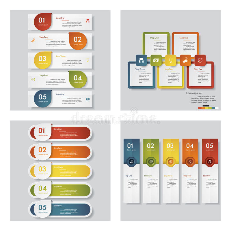 Inzameling van 4 ontwerpmalplaatje/grafische lay-out Vector royalty-vrije illustratie
