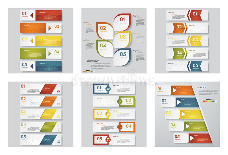 Inzameling van 6 ontwerpmalplaatje/grafische of websitelay-out Het kan voor prestaties van het ontwerpwerk noodzakelijk zijn stock illustratie