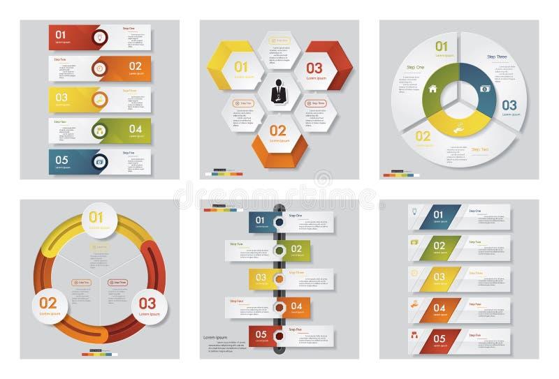 Inzameling van 6 ontwerpmalplaatje/grafische of websitelay-out Het kan voor prestaties van het ontwerpwerk noodzakelijk zijn vector illustratie