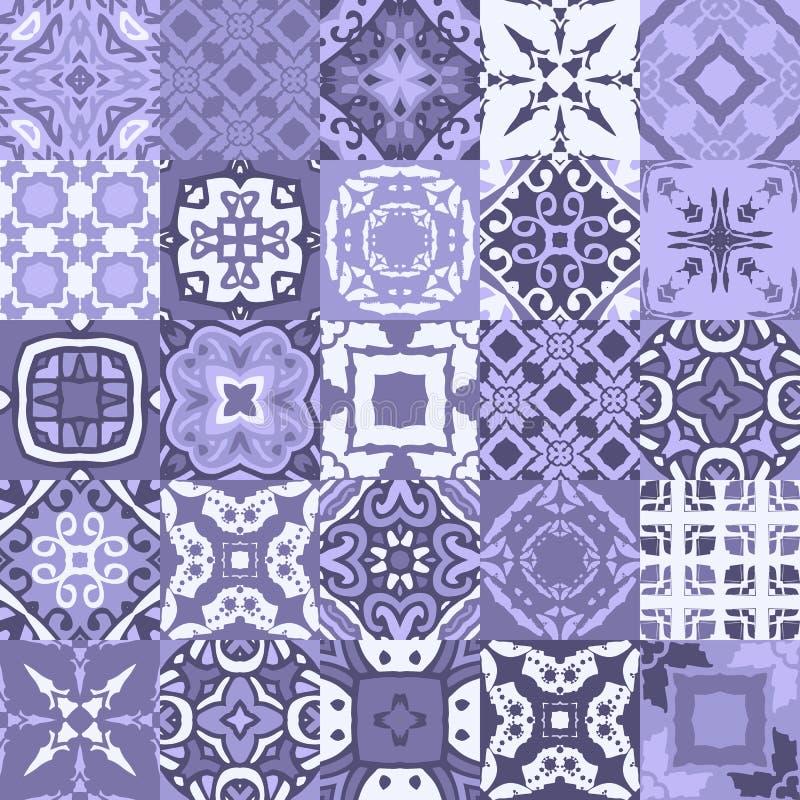 Inzameling van oosterse keramische tegels in blauwe tonen Naadloos vectorlapwerkpatroon met siermotieven vector illustratie