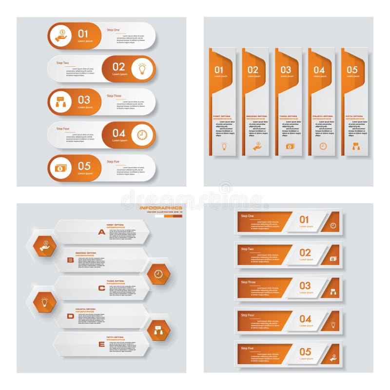 Inzameling van 4 oranje kleurenmalplaatje/grafische of websitelay-out Het kan voor prestaties van het ontwerpwerk noodzakelijk zi royalty-vrije illustratie