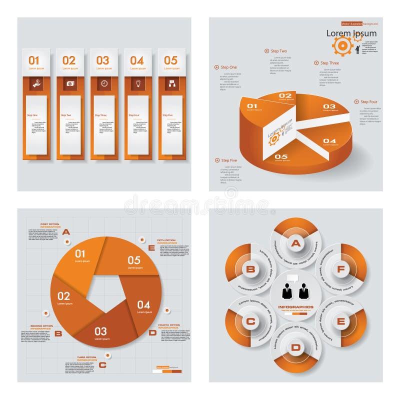Inzameling van 4 oranje kleurenmalplaatje/grafische of websitelay-out Het kan voor prestaties van het ontwerpwerk noodzakelijk zi vector illustratie