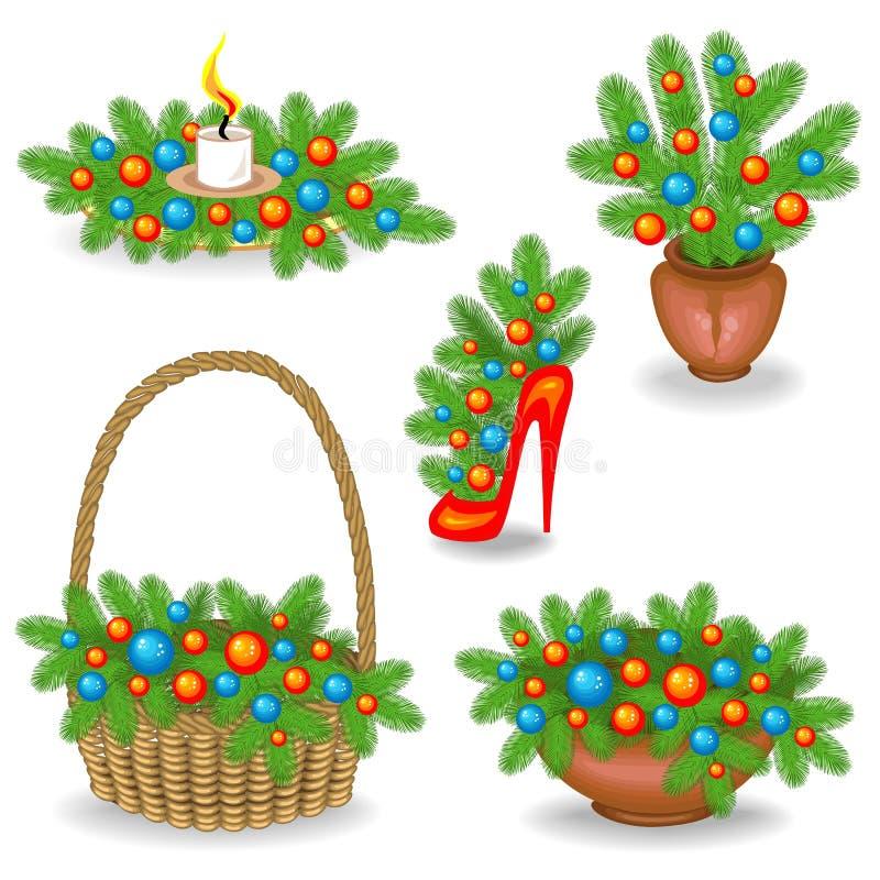 Inzameling van originele samenstellingen en boeketten van Kerstboomtakken Traditioneel symbool van het Nieuwjaar Verfraaid met vector illustratie
