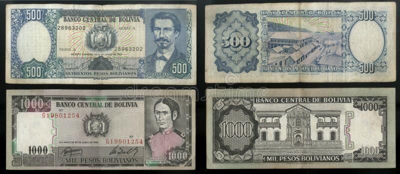 Inzameling van oude bankbiljetten Centrale Bank van de staat Bolivië, Zuid-Amerika royalty-vrije stock afbeelding