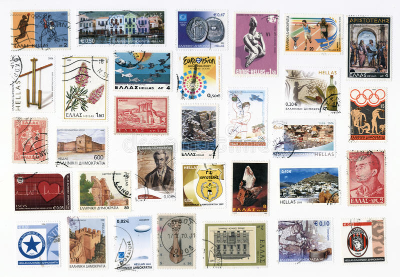 Inzameling van oude postzegels van Griekenland. royalty-vrije stock foto