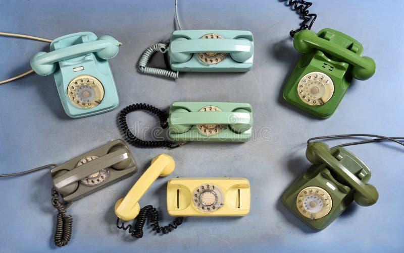 Inzameling van oude uitstekende roterende telefoons royalty-vrije stock fotografie