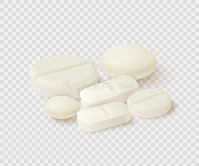Inzameling van ovaal, ronde en capsule gestalte gegeven tabletten Geneeskunde en drugs vector illustratie
