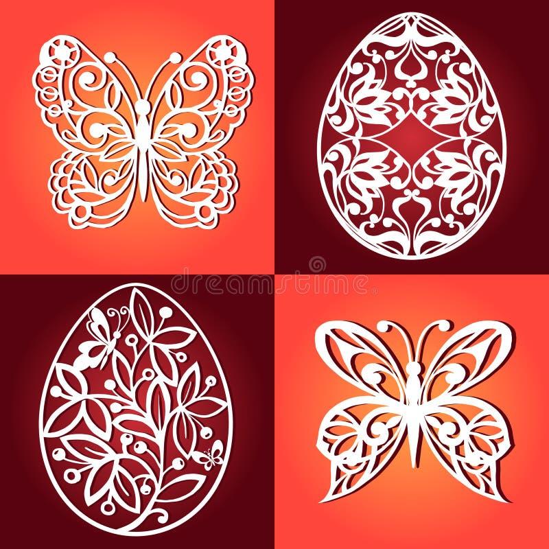 Inzameling van paaseieren voor laserknipsel Decoratieve vlinders voor laserknipsel vector illustratie