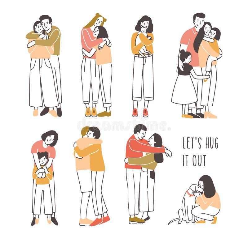 Inzameling van paren koesterende of knuffelende mensen - romantische partners, vrienden, huisdieren en eigenaars, ouders en jonge vector illustratie
