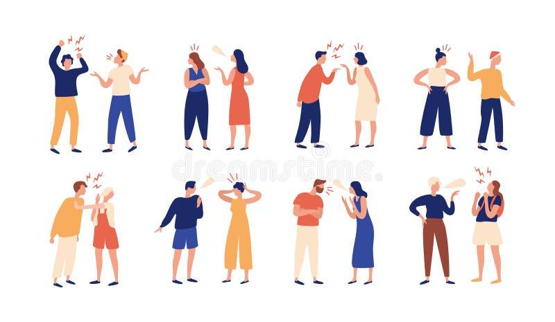 Inzameling van paren mensen tijdens conflict of meningsverschil Reeks mannen en vrouwen die, het op de vuist gaan, het bekvechten vector illustratie