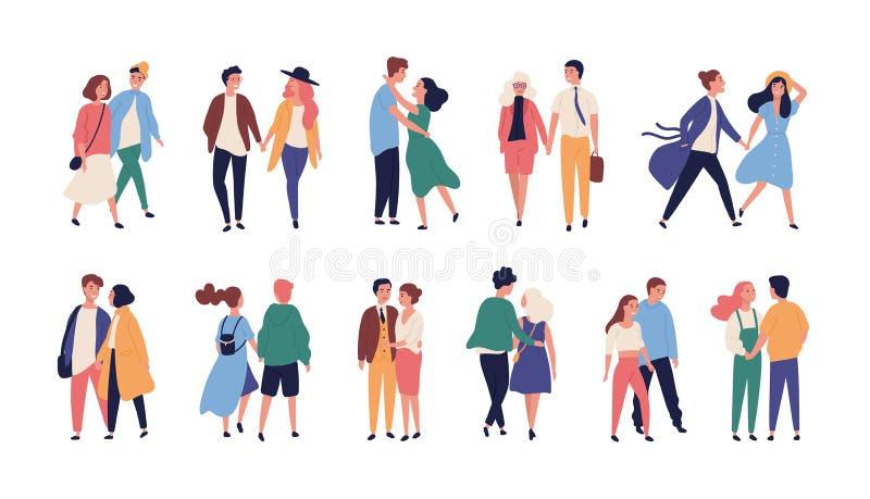 Inzameling van paren op romantische datum Reeks tieners en meisjes die handen, lopen houden samen ge?soleerd op wit stock illustratie