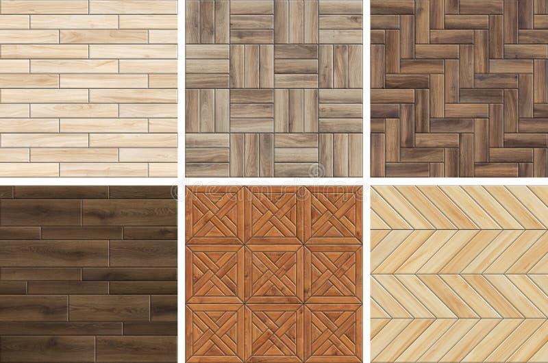 Inzameling van patronen van het hoge resolutie de houten parket Naadloze texturen van verschillend hout royalty-vrije stock afbeeldingen