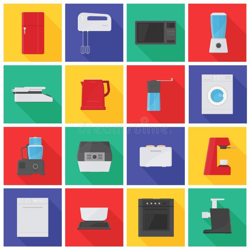 Inzameling van pictogrammen of pictogrammen met keukentoestellen, materiaal, handboek en elektrische gereedschappen voor voedselv royalty-vrije illustratie