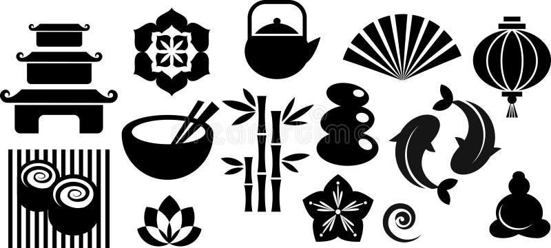 Inzameling van pictogrammen oosterling en Zen en emblemen vector illustratie