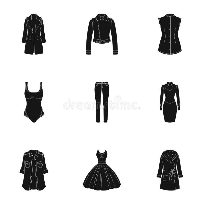 Inzameling van pictogrammen van de kleding van vrouwen Diverse vrouwen` s kleren voor het werk, het lopen, sporten Vrouwen die pi stock illustratie