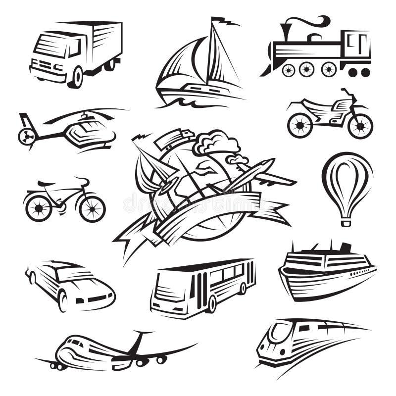 Inzameling van pictogrammen van vervoer stock illustratie