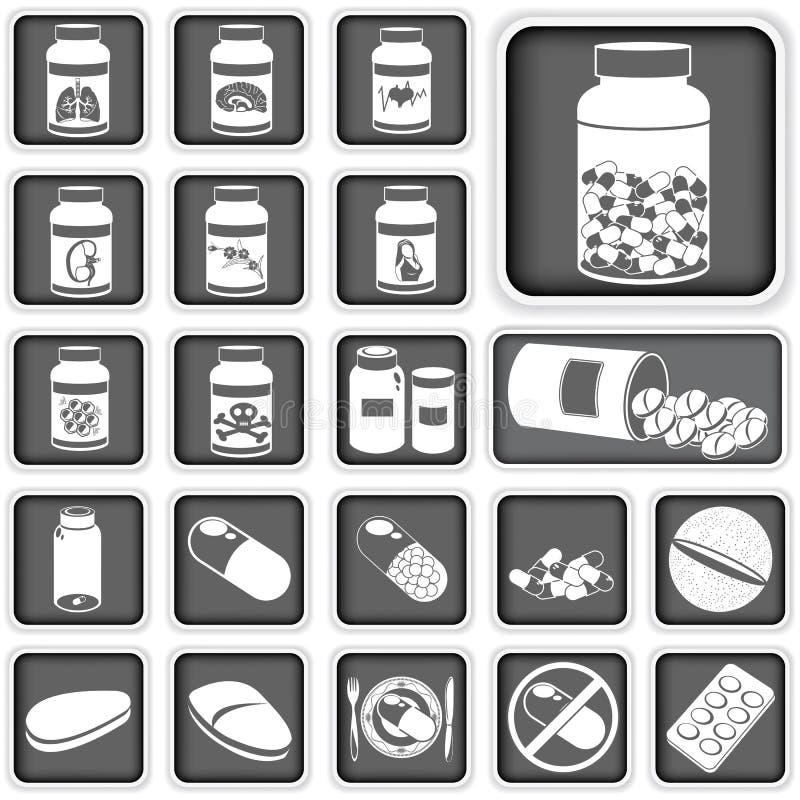Inzameling van pillen stock illustratie