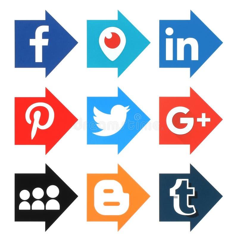 Inzameling van populaire sociale de media van de pijlvorm emblemen royalty-vrije illustratie