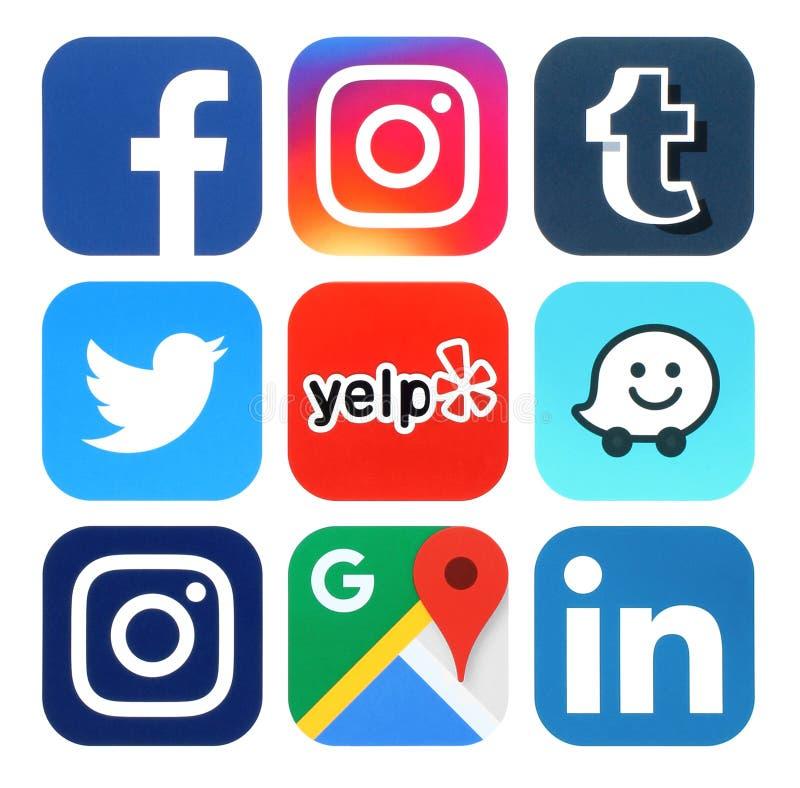 Inzameling van populaire sociale media, reis en navigatieemblemen royalty-vrije illustratie