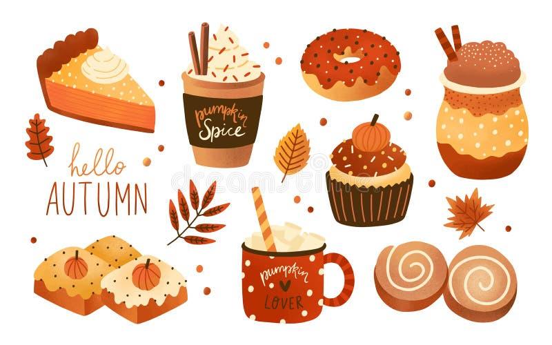 Inzameling van producten, het voedsel en de dranken van het pompoenkruid de seizoengebonden op smaak gebrachte die op witte achte vector illustratie