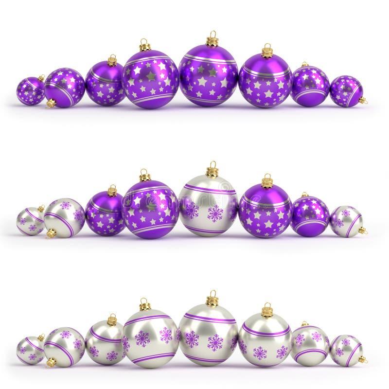Inzameling van purpere en zilveren Kerstmisballen Geïsoleerd wit 3d geef terug royalty-vrije illustratie