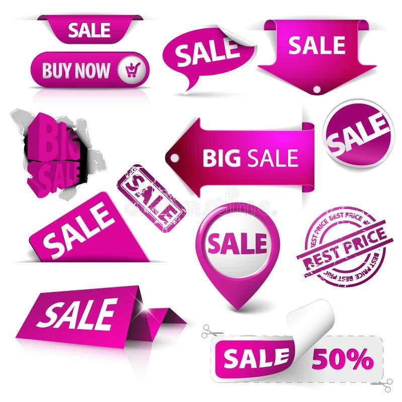 Inzameling van purpere verkoopkaartjes, etiketten, zegels vector illustratie