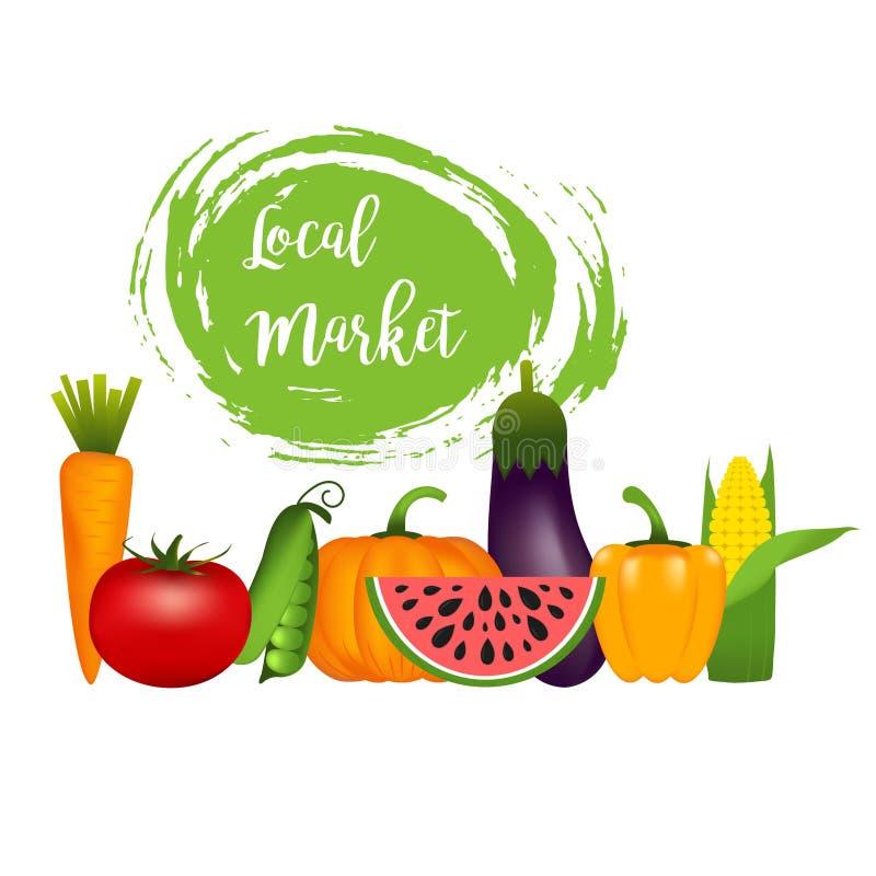 Inzameling van realistische gezonde groenten zoals: wortel, tom royalty-vrije illustratie
