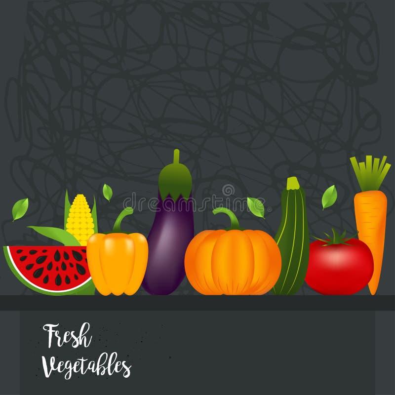 Inzameling van realistische gezonde groenten zoals: wortel, tom stock illustratie