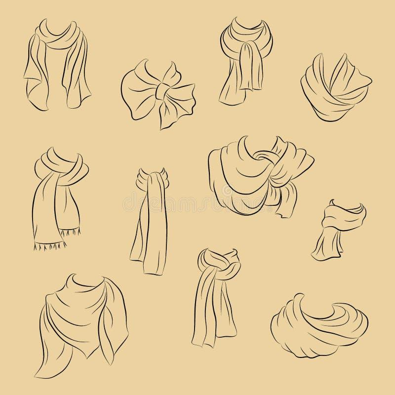 Inzameling van realistische sjaals Modieuze toebehoren De vectorstijl van de illustratie in hand tekening royalty-vrije illustratie
