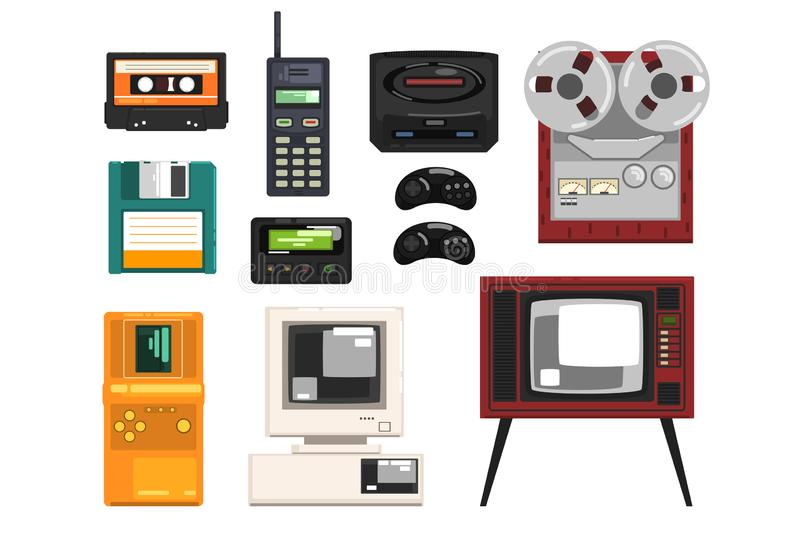 Inzameling van retro techniek, audiomuziekcassette, spoelregistreertoestel, draagbare radio, pager, TV, tetris, diskette royalty-vrije illustratie
