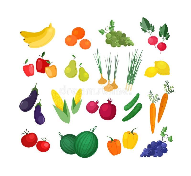 Inzameling van rijpe verse organische die vruchten en groenten op witte achtergrond worden geïsoleerd Bundel van heerlijke natuur vector illustratie