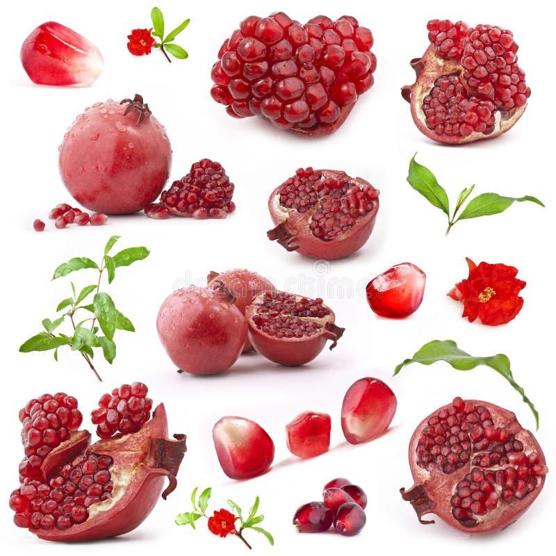 Inzameling van rode granaatappelvruchten royalty-vrije stock foto