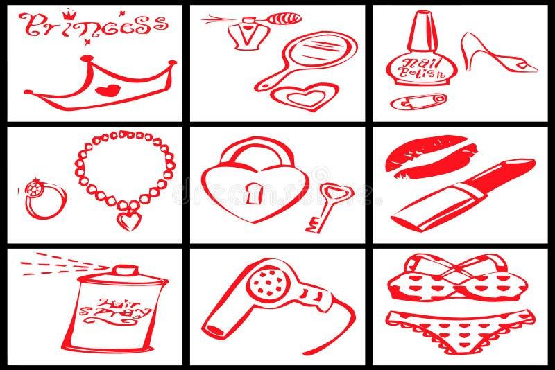 Inzameling van rode voorwerpen voor een vrouwenprinses stock foto