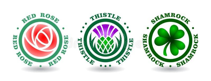 Inzameling van rond logotypes met roze, distel, klaver Nationale symbolen van Engeland, Schotland, Ierland vector illustratie