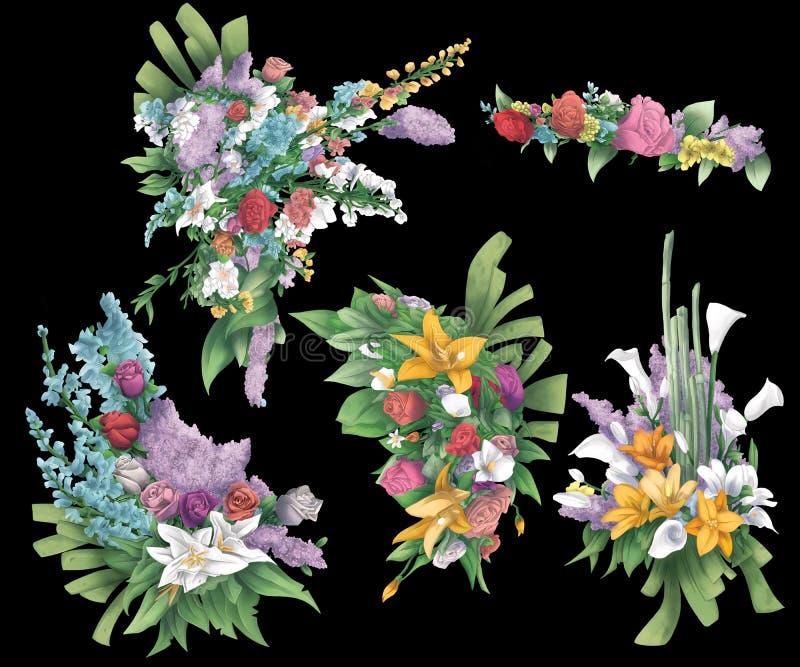 Inzameling van rozen, bloemen en bladeren vector illustratie