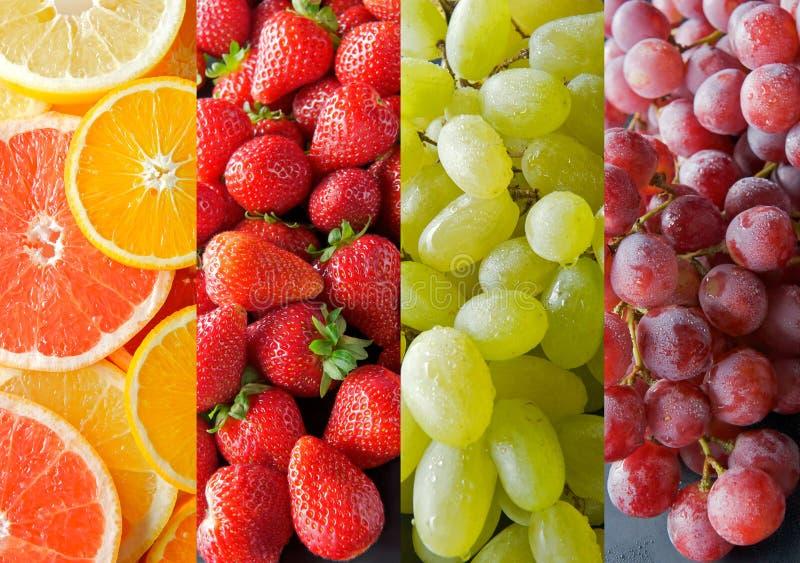 Inzameling van sappige vruchten in verticale stroken. royalty-vrije stock afbeeldingen