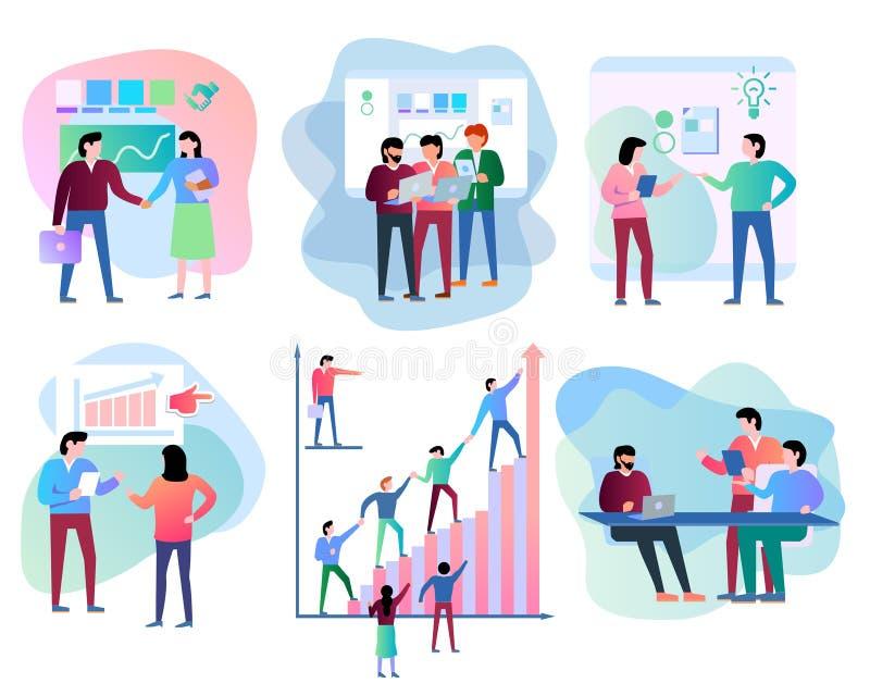 Inzameling van scènes bij bureau bedrijfsreeks vector illustratie