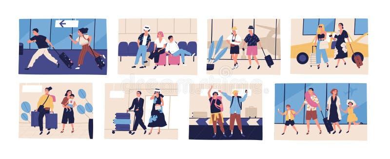 Inzameling van scènes met toeristen die op de zomervakantie, reis of tocht gaan Vrienden, jonge en bejaarde paren stock illustratie