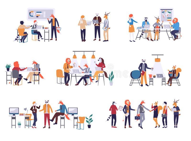 Inzameling van scènes op kantoor Bundel van mannen en vrouwen die aan commerciële vergadering, onderhandeling, brainstorming deel vector illustratie