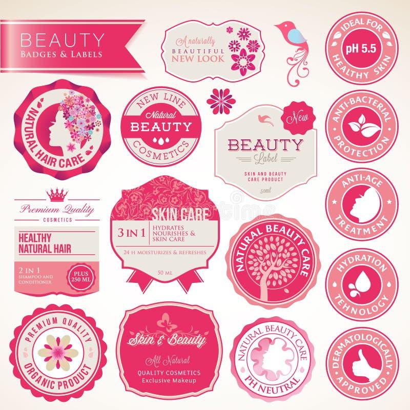 Inzameling van schoonheidsmiddelenetiketten en kentekens royalty-vrije illustratie