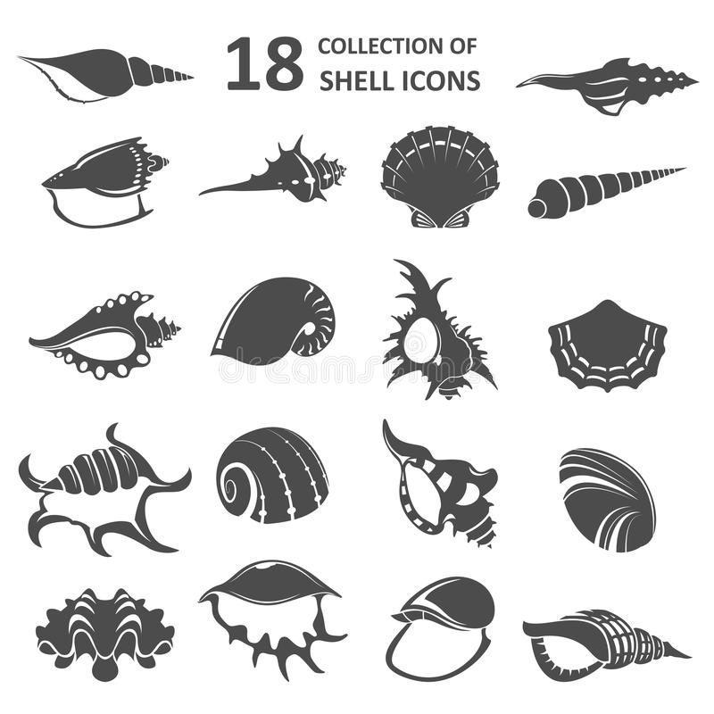 Inzameling van shell pictogrammen stock illustratie