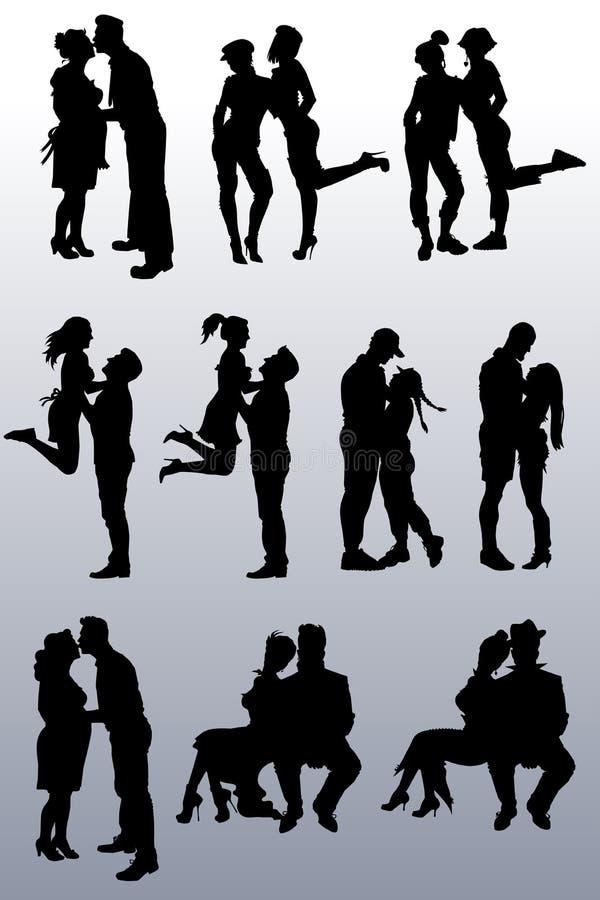 Inzameling van silhouetten van paren van mensen vector illustratie