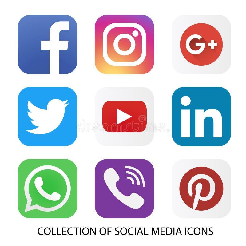 Inzameling van sociale media pictogrammen en emblemen vector illustratie