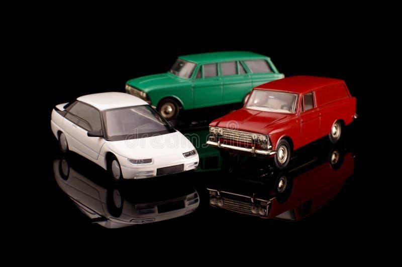 Inzameling van 3 sovjet gegoten modelauto's stock afbeeldingen