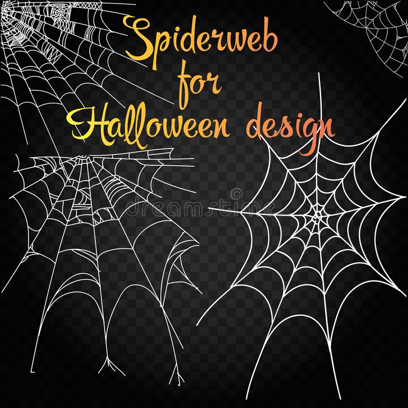 Inzameling van Spinneweb, op zwarte, transparante achtergrond wordt geïsoleerd die Spiderweb voor Halloween-ontwerp Enge spinnewe vector illustratie