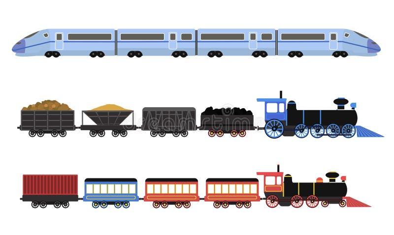 Inzameling van spoorweglocomotieven, passagierswagens en snelheidstreinen vector illustratie