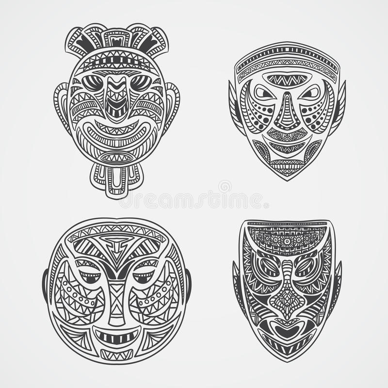 Inzameling van Stammenmasker stock illustratie