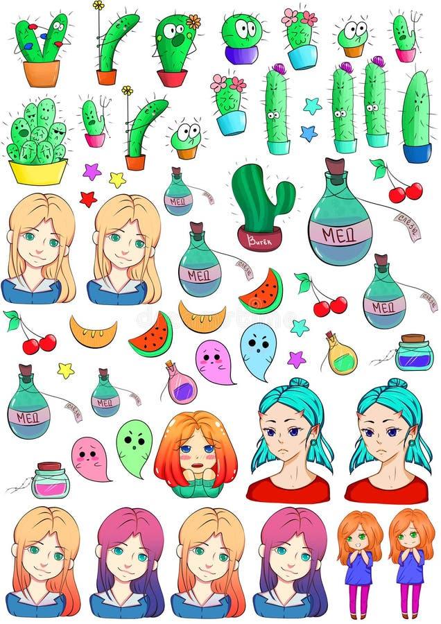 Inzameling van Stickers royalty-vrije illustratie