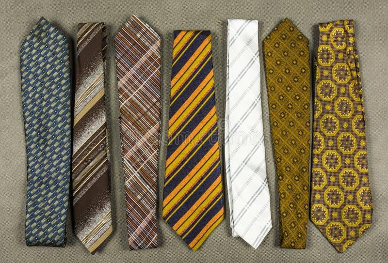 Inzameling van stropdassen in diverse ontwerpen royalty-vrije stock foto